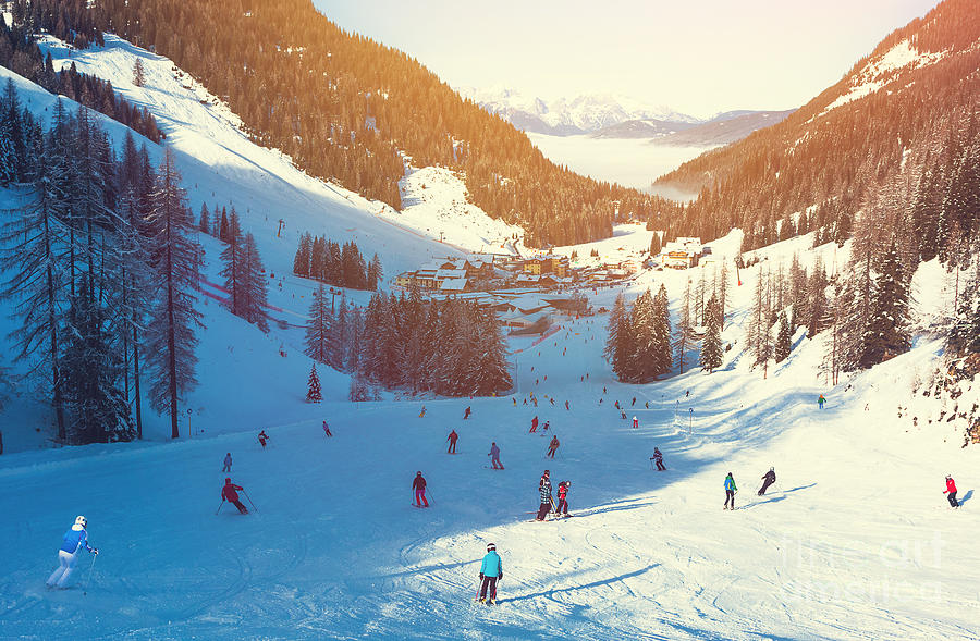 Mountains Photograph - Skiing Area In West Alps In The Morning by Lkoimages