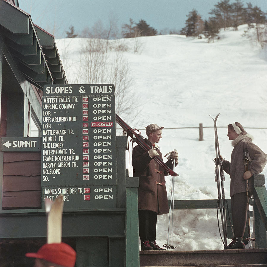 Skiing At Cranmore Mountain Photograph by Slim Aarons