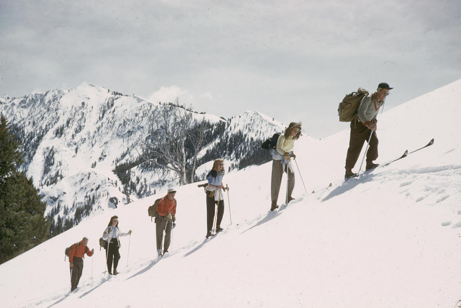 Skiing Uphill Photograph by George Silk
