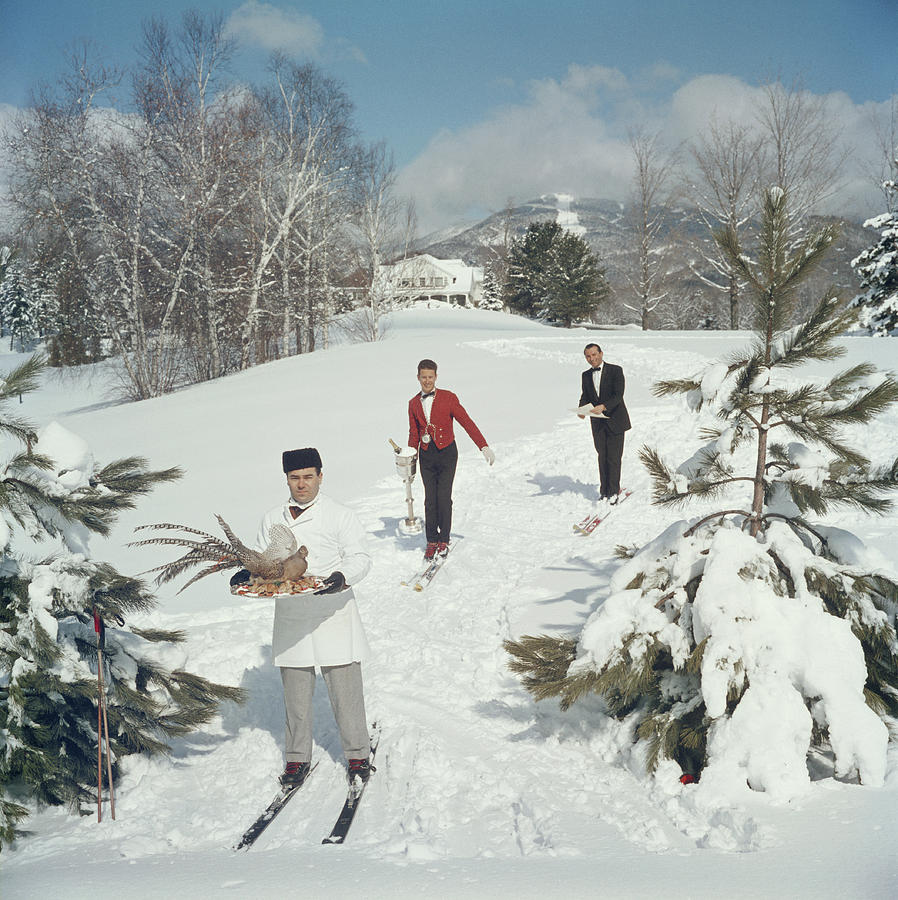 Skiing Waiters Photograph by Slim Aarons