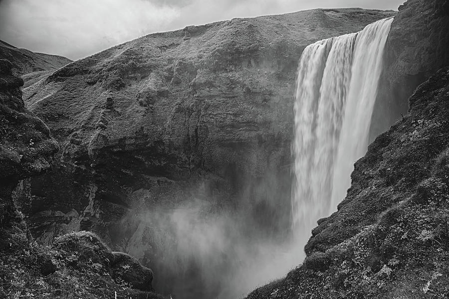 Skogafoss Iceland Black and White by Nathan Bush