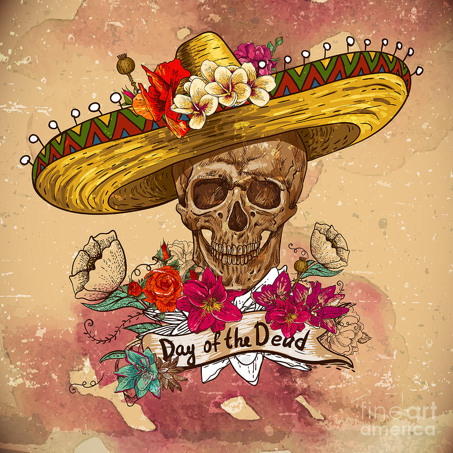 Pattern Digital Art - Skull In Sombrero With Flowers Day Of by Depiano