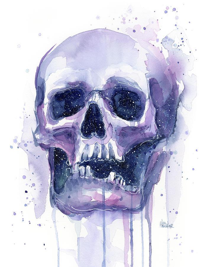 Space Painting - Skull in Space by Olga Shvartsur