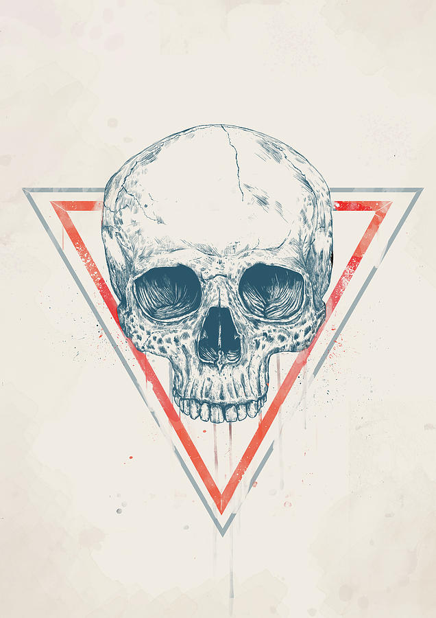 Skull Drawing - Skull in triangles by Balazs Solti