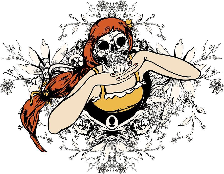 Flower Digital Art - Skull Lady by Passion Loft