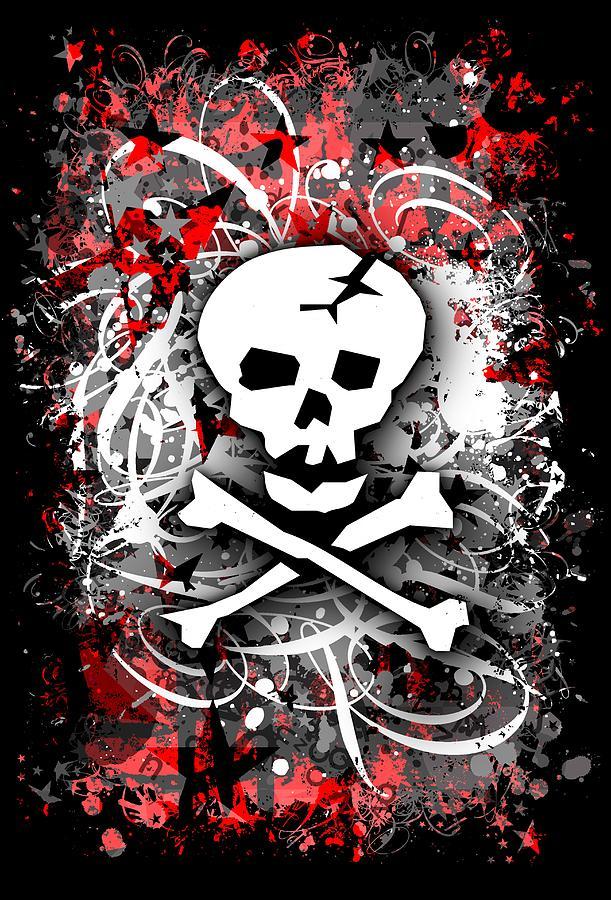Skull Splatter Graphic by Roseanne Jones
