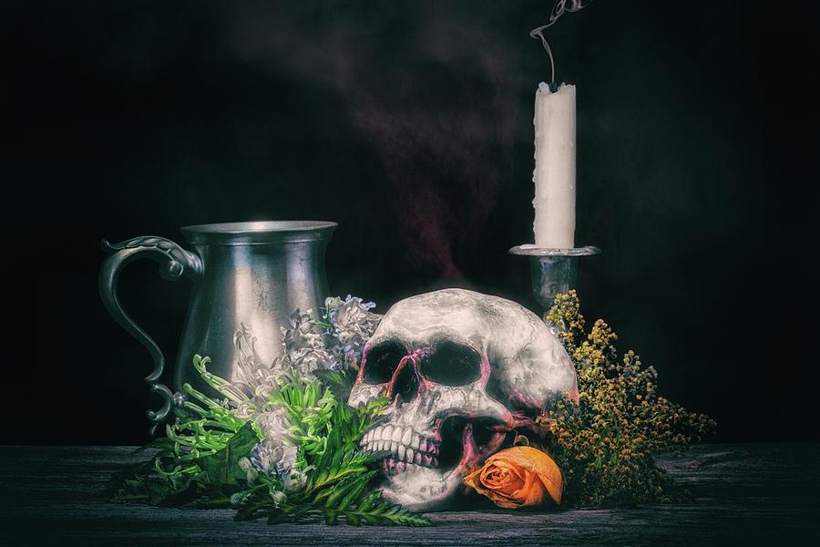 Skull With Flowers by Tom Mc Nemar