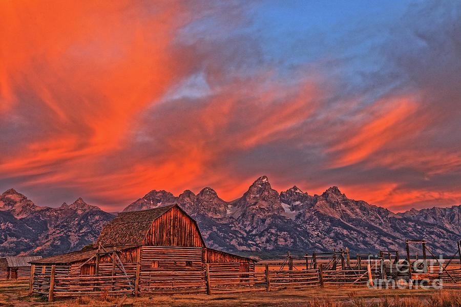 Sky Blaze Over The Tetons Photograph