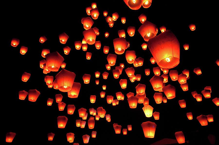 Sky Lanterns In Pinghsi Photograph by Jun