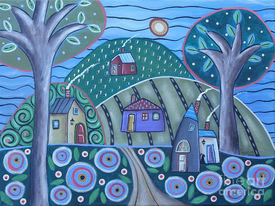 Folk Art Landscape Painting - Sky Of Blue by Karla Gerard