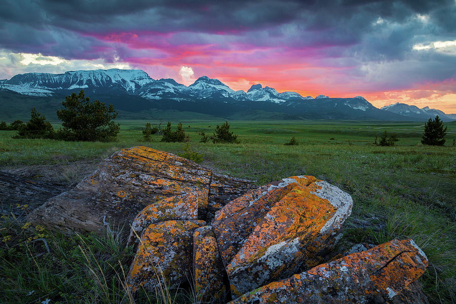 Sky On Fire / Rocky Mountain Front, Montana  by Nicholas Parker