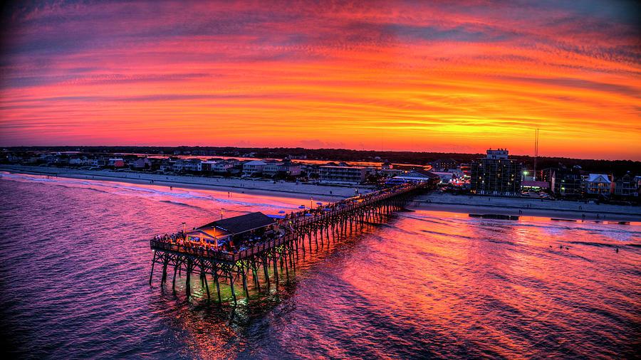 Sky On Fire Sunset - Garden City Pier by Robbie Bischoff