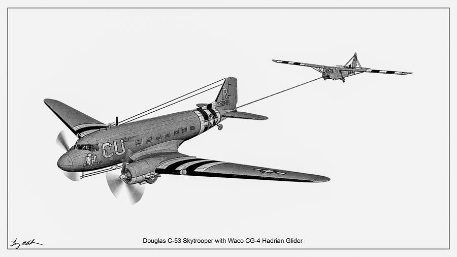 Sky trooper with Waco tow -sketch by Tommy Anderson