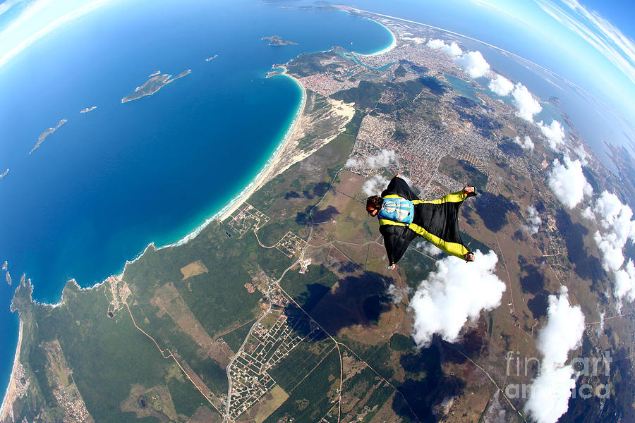 Altitude Photograph - Skydive Wing Suit Over Brazilian Beach by Rick Neves