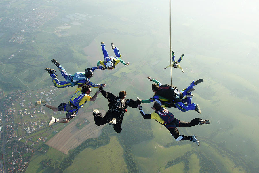 Skydiving Tandem Formation Group Photograph by Graiki
