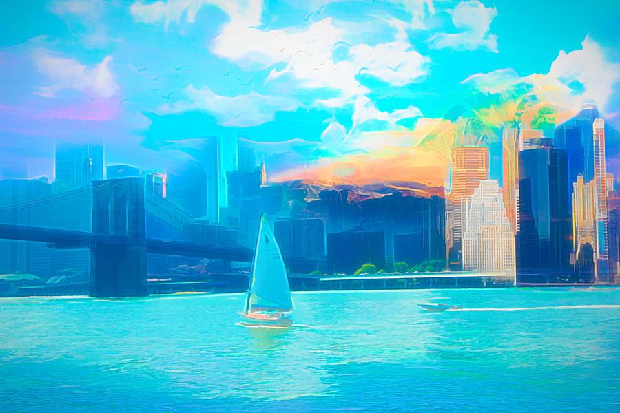 Bridge Digital Art - Skyline Mix by Jasmina Seidl