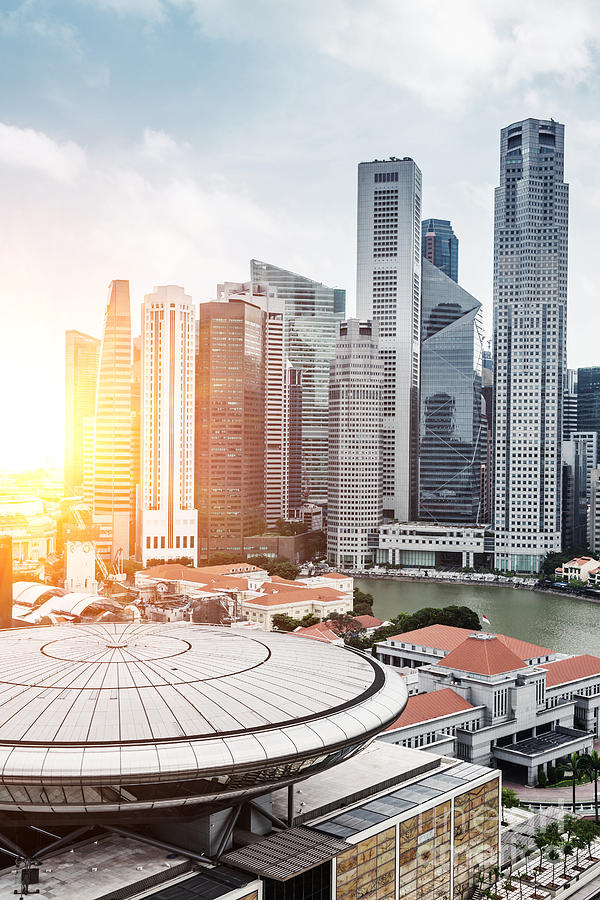 Commercial Photograph - Skyline Of Singapore Business District by Zhu Difeng