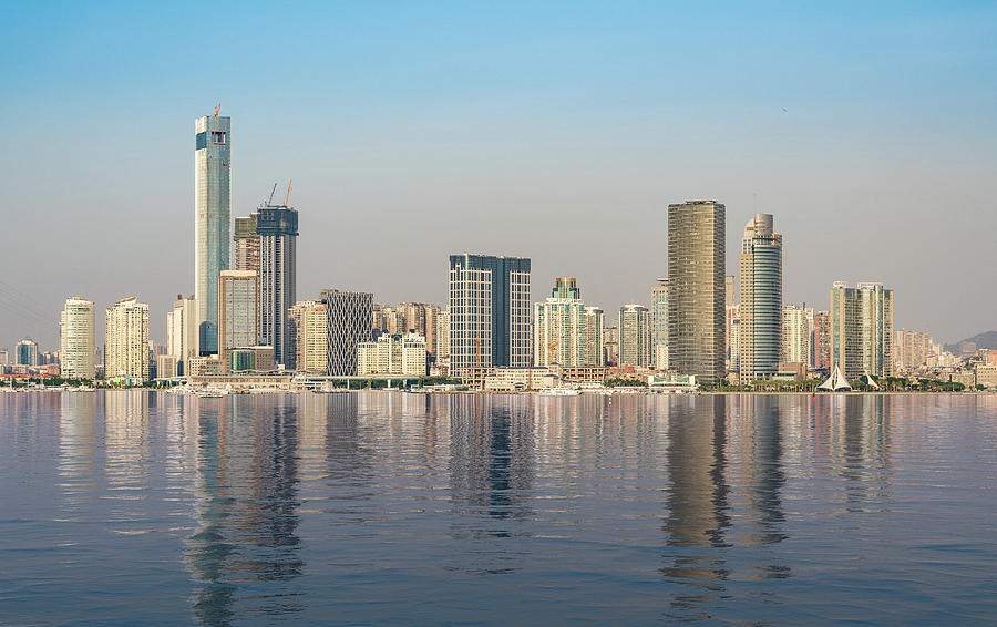 Skyline of the city of Xiamen with artificial ocean by Steven Heap