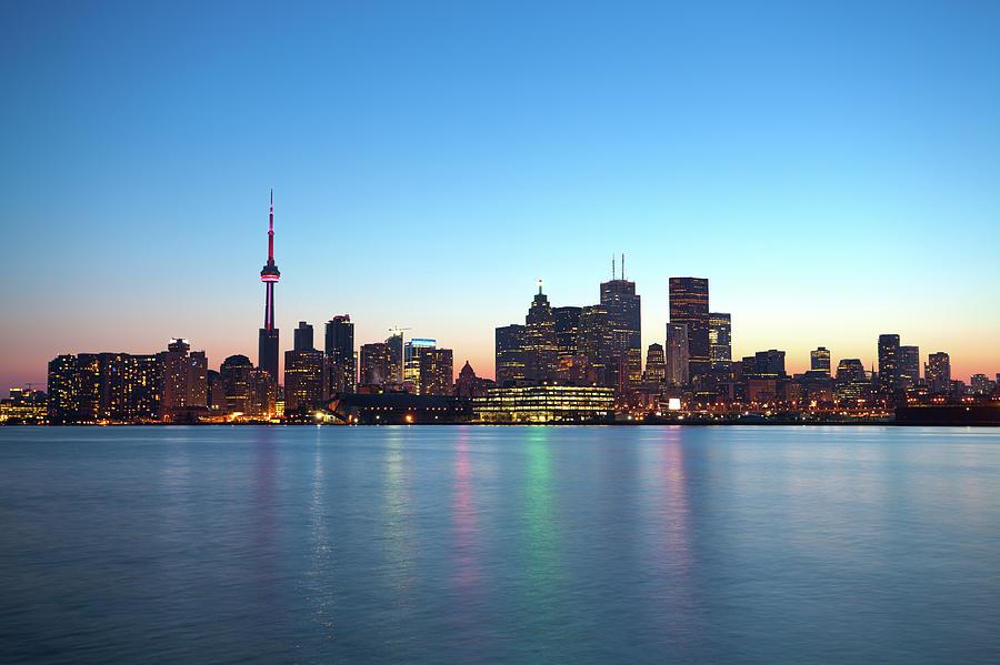 Skyline Of Toronto By Night, Ontario Photograph by Espiegle