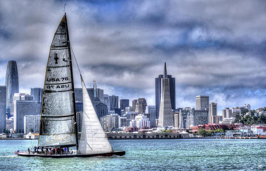 Skyline Sail  San Francisco CA by Wayne King