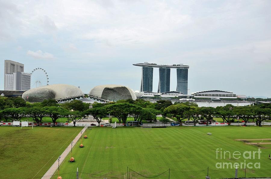 Skyline with Marina Bay Sands Esplanade Flyer and Padang Singapore  by Imran Ahmed