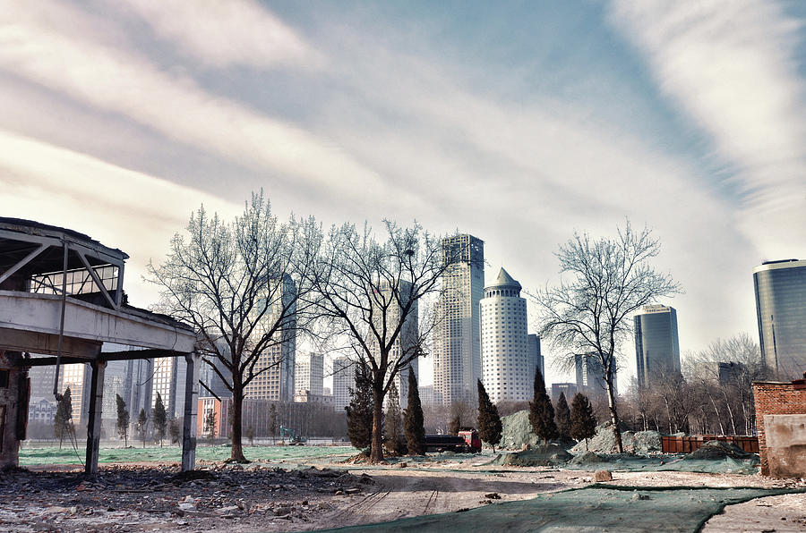 Construction Site Photograph - Skyscrapers Against Dramatic Cloudy Sky by Andy Brandl