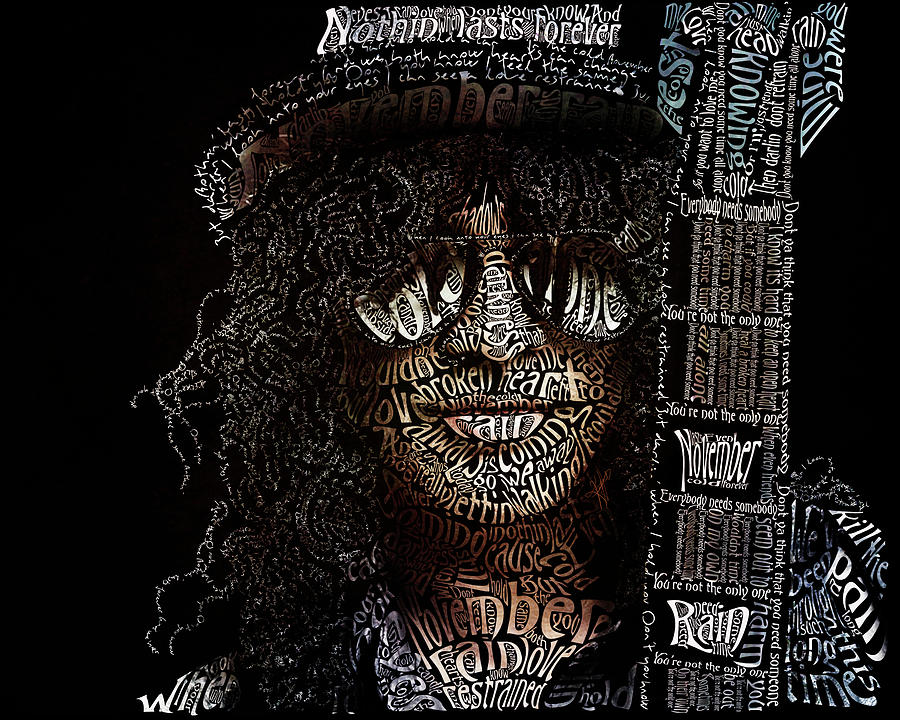 Slash Digital Art - Slash Typography Portrait by Kristina Hamilton