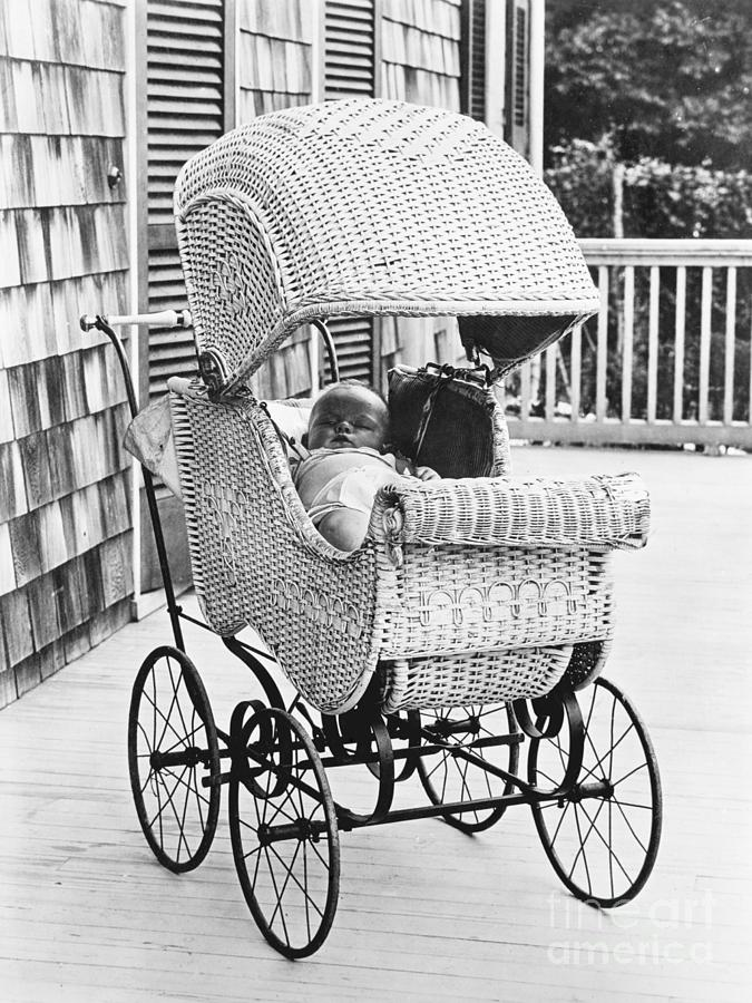 Sleeping Baby In Carriage On Porch Photograph by Bettmann