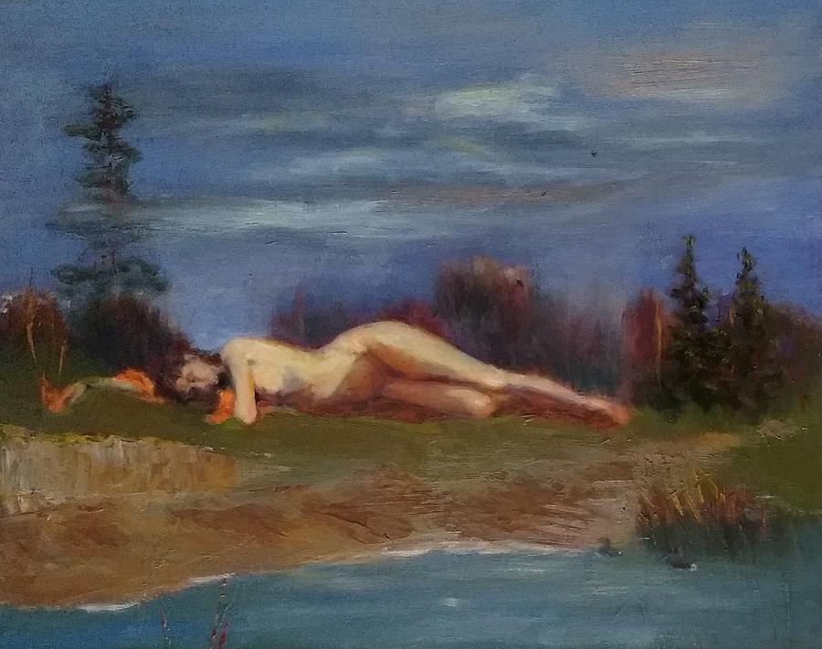 Girl Painting - Sleeping Maiden II by Irena Jablonski