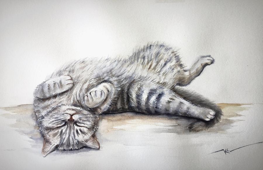 Sleepy cat by Katerina Kovatcheva