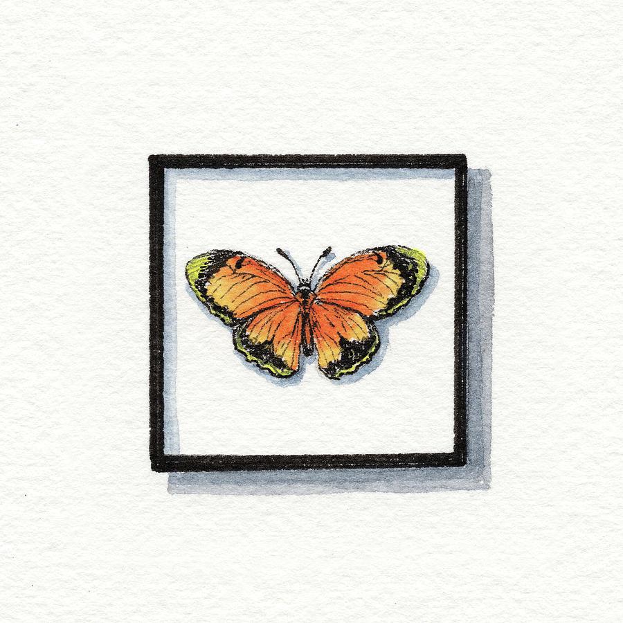 Nicippe Painting - Sleepy Yellow Sulphur Watercolor Butterfly Eurema Nicippe  by Irina Sztukowski