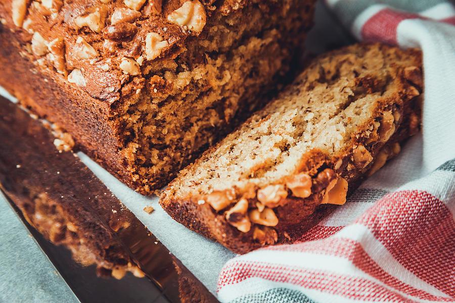 Sliced Freshly Baked Banana Bread by Jeanette Fellows