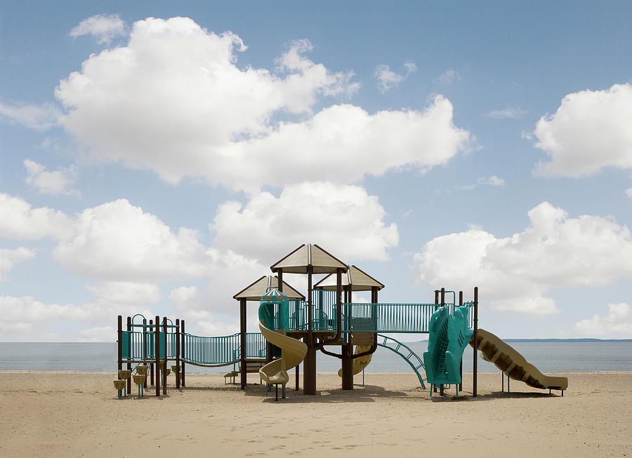 Slide On Beach Photograph by Ed Freeman