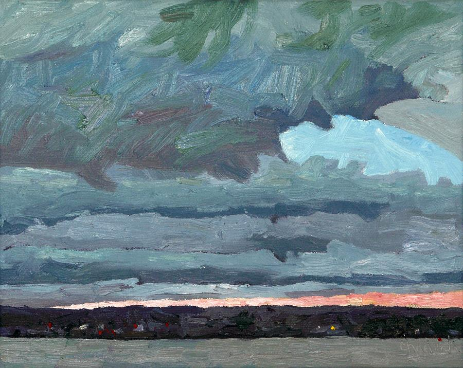 November Painting - Sliver Of Sunset by Phil Chadwick