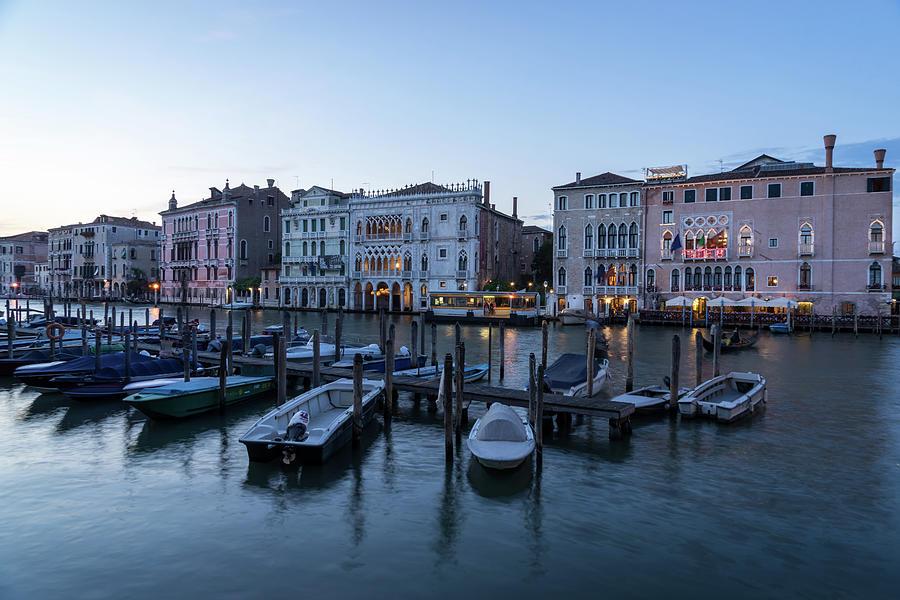 Slow Dusk in Venice - Rialto Market Working Boats and Grand Palaces by Georgia Mizuleva