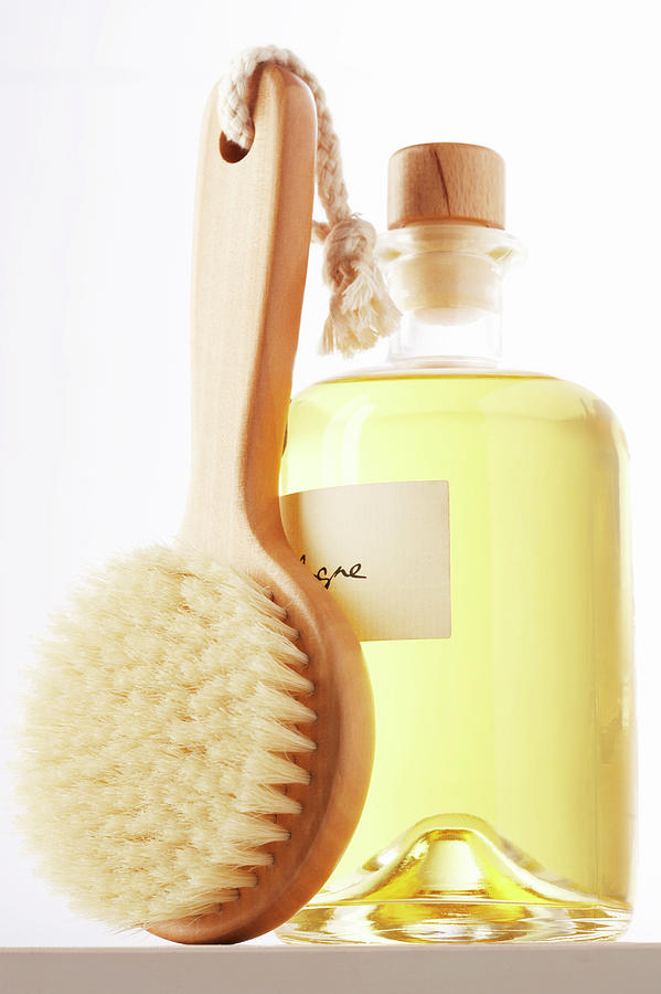 Small Bath Brush Leaning Against Jar Of Photograph by Martin Poole