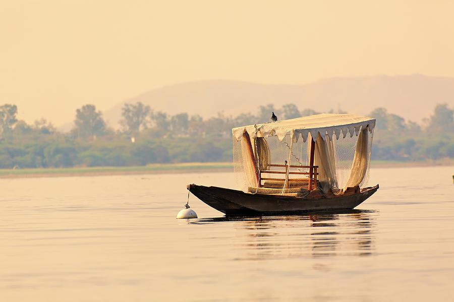 Small Boat, Lake Pichola Photograph by Adam Jones