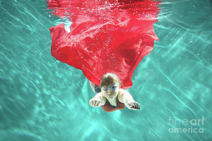 Small Girl As Superhero Flying Photograph by Stanislaw Pytel