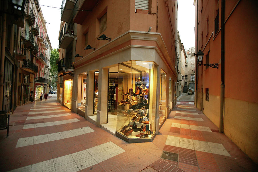 Small Shopping Street Figueras Spain Photograph by Mlenny