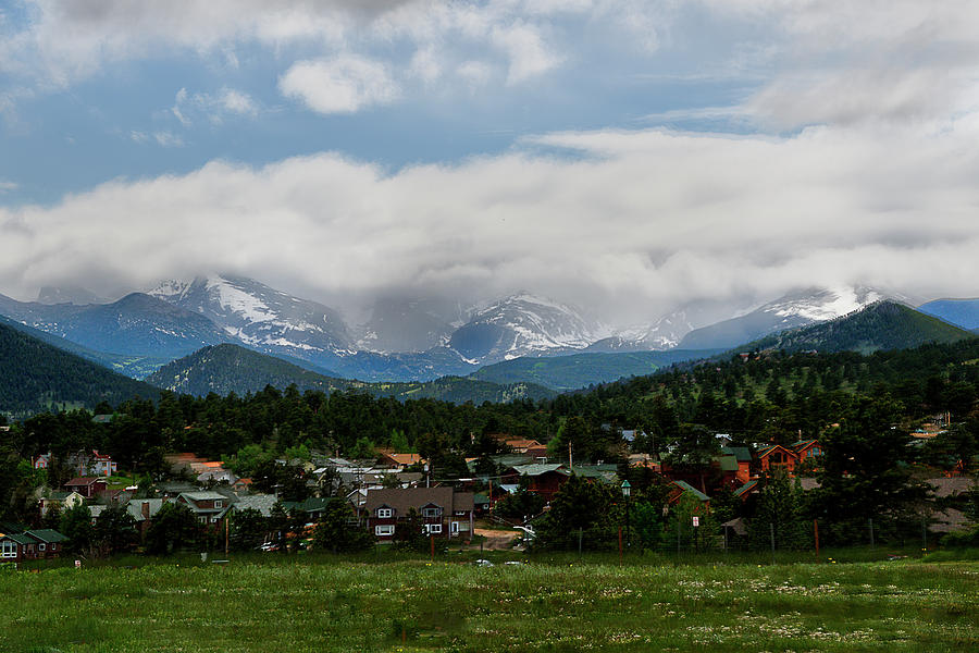 Small town in foothills of the Rocky Mountains by Dan Friend