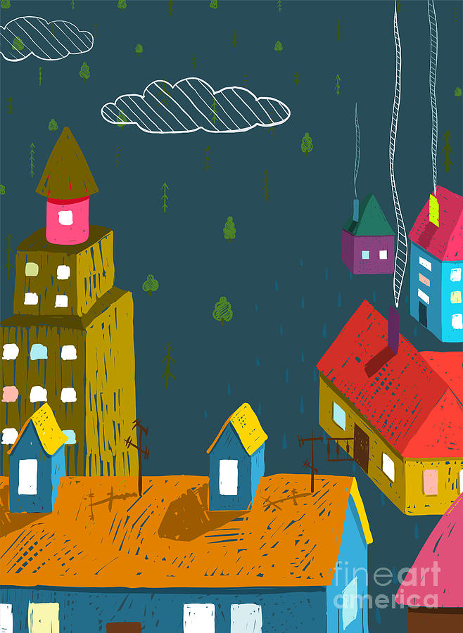 Small Digital Art - Small Town With Houses Roofs Forest by Popmarleo