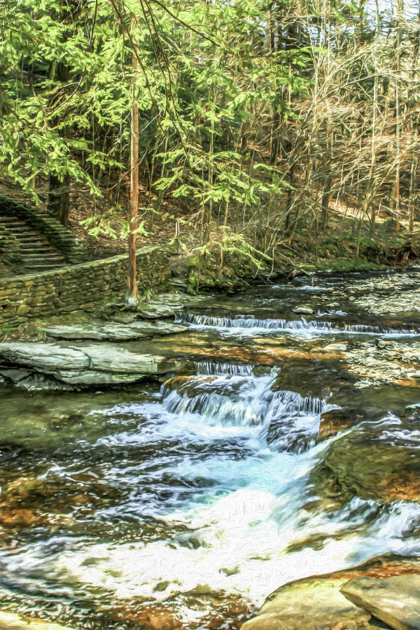 Waterfall Photograph - Small Waterfall In Creek And Stone Stairs by Chic Gallery Prints From Karen Szatkowski