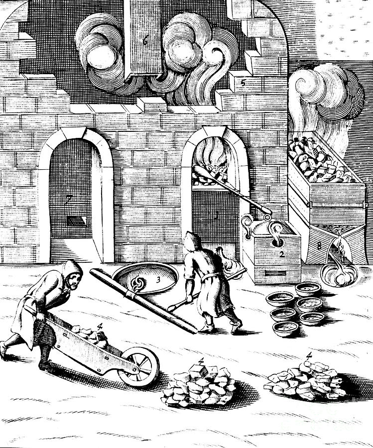 Smelting Of Copper, 1683 Drawing by Print Collector