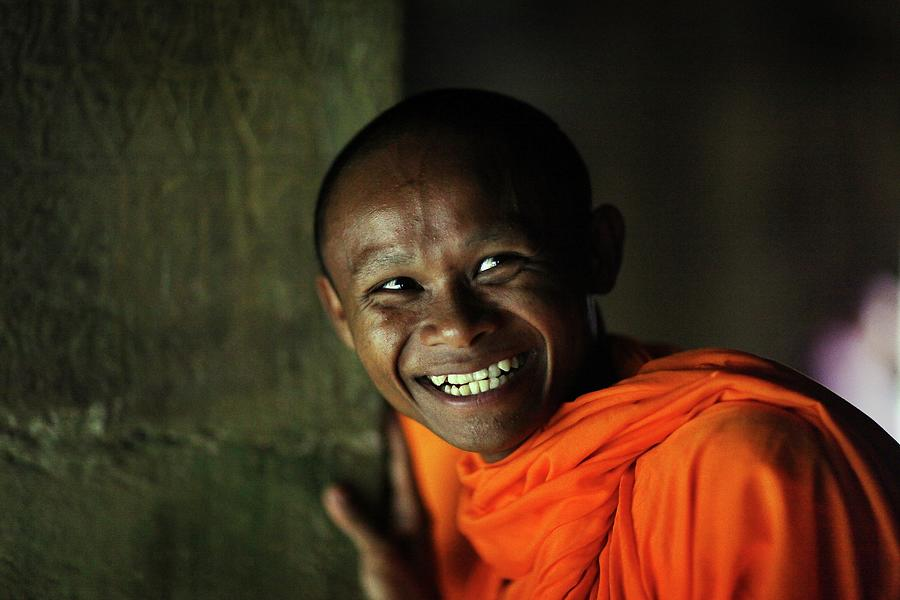 Smiling Buddhist Monk At Angkor Wat Photograph by Timothy Allen