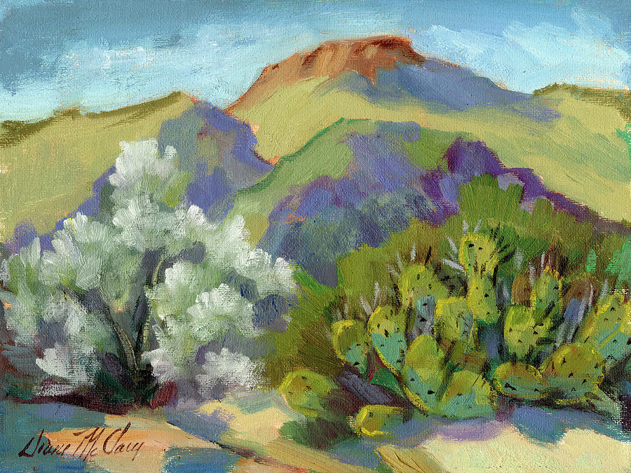 Smoke Tree and Prickly Pear Cactus by Diane McClary