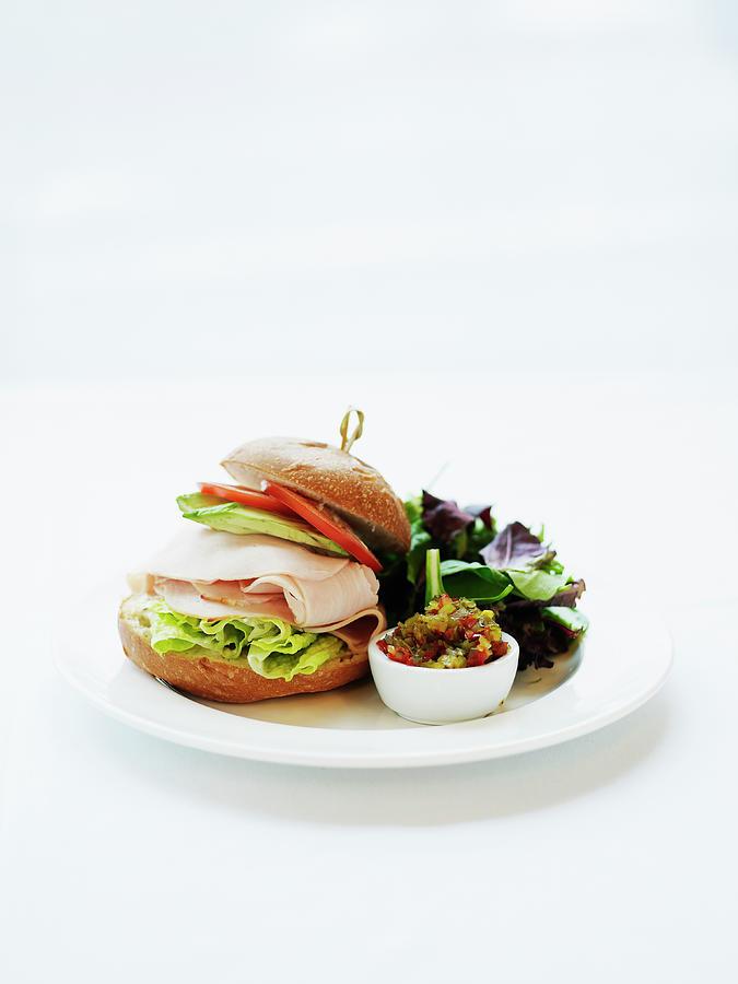 Smoked Turkey Sandwich Served On A Photograph by Thomas Barwick