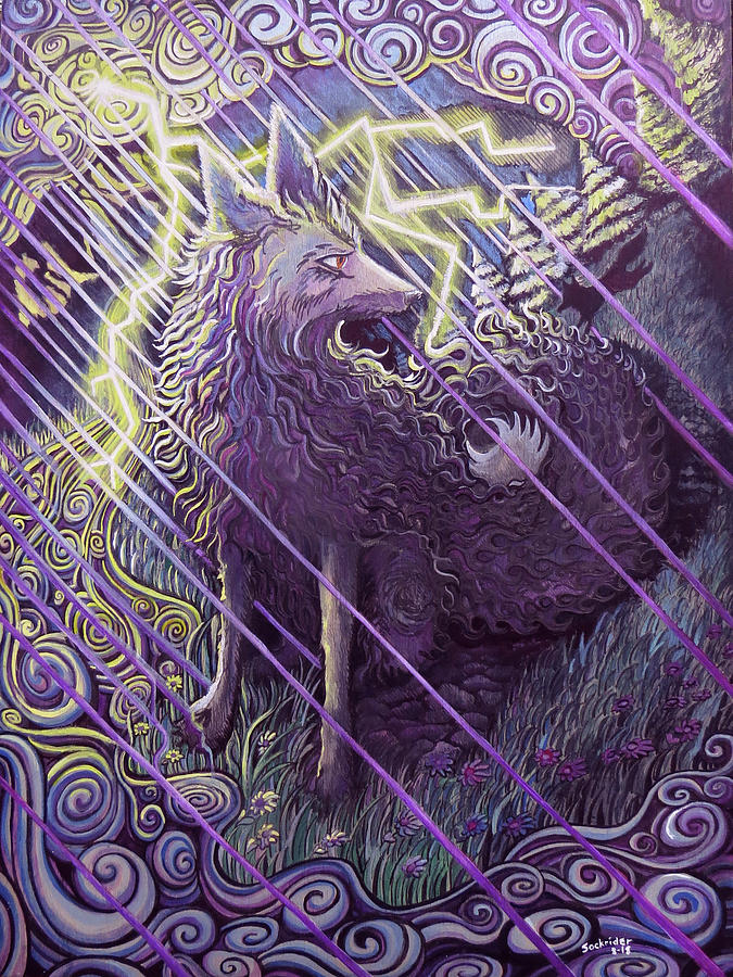 Fox Painting - Smokey Rain by David Sockrider