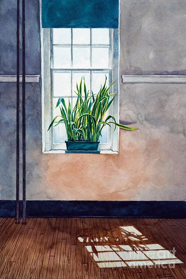 Snake plant on window sill in painting by Christopher Shellhammer