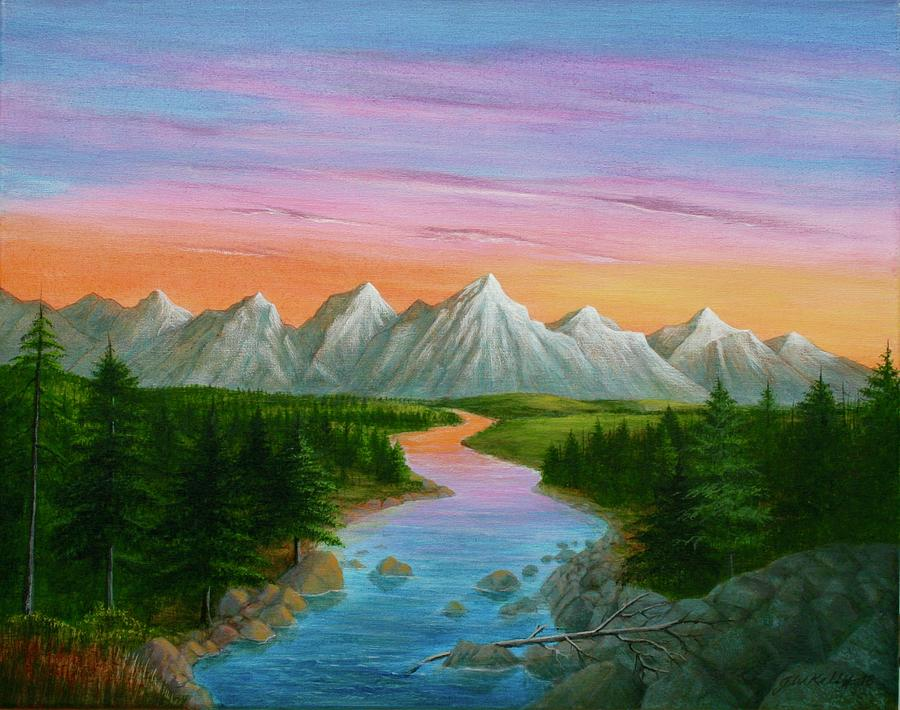 Snake River Painting - Snake River Sunset by J W Kelly