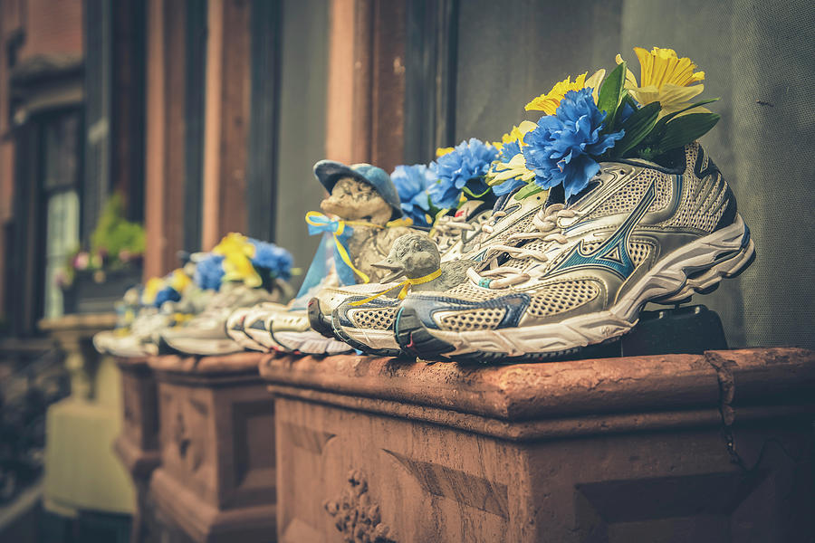 Sneakers With Flowers - Boston Marathon by Joann Vitali